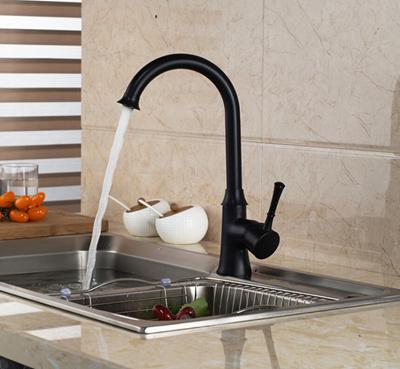 Luxury Oil Rubbed Bronze Kitchen Faucet Swivel Spout Vessel Sink Mixer Tap Single Handle Hole