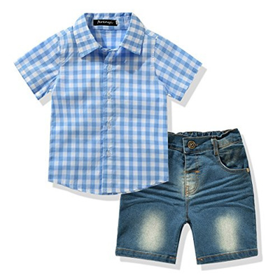 7a28e00efcdc Qoo10 - (LvYinLi) LvYinli Toddler Boy s Clothes Short Sleeved Plaid ...