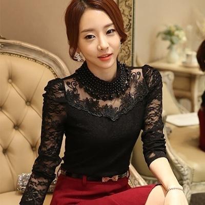 dd82f45925e M-3XL Sexy Lace Tops Autumn 2016 blusas new Slim Plus size lace blouse long