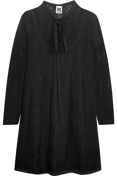 M Missoni Woman Crochet-knit Wool-blend Mini Dress Black Size 38 M Missoni RKzkTmO