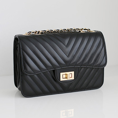 Made In Korea Classy Quilted Pu Leather Chain Handbag