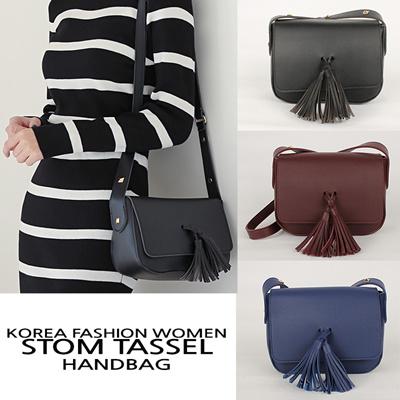 363fe6b9ad73 [Made In Korea] Korea New Fashion Women Stom Tassel Handbags Cross Bag  Black Wine Synthetic Leather