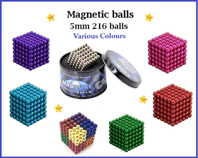 MAGNETIC BALLS BUCKY BALLS MAGCUBE 5MM 216 BALLS -MANY COLOURS!