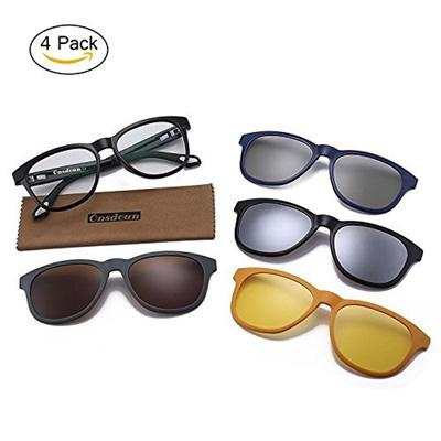 a8fff0c5dfce Qoo10 - Magnetic Polarized 4Pcs Clip-on Lens Glasses Shade Sunglasses Night  Vi...   Men s Bags   Sho.