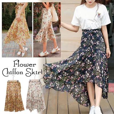 4979d13d370ff 【Mail service · Free Shipping】 Ilehem Maxi Flare Skirt ■ Skirt Maxi Length  Flare Skirt Long Skirt Floral Pattern Skirt Summer Skirt Women's ...