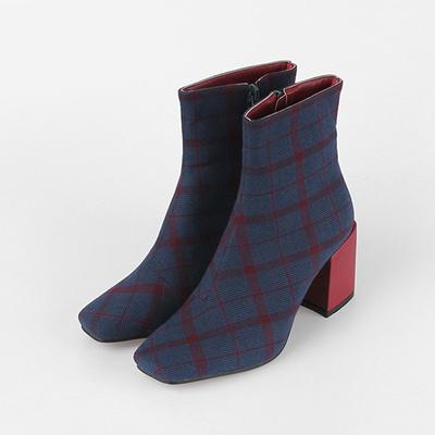 67fc2c19656f Qoo10 -  MAISON DE SHOES Check Square-Toe Zipper Ankle Boots (7cm)    Platform   Shoes