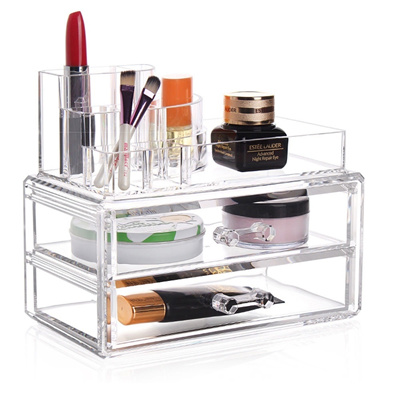 bdbd344739d2 Makeup Cosmetics Organizer Clear Acrylic Drawers Display Box Storage  Tabletop (Color: White)