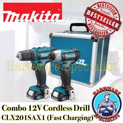 makita drill set 12v. makita combo 12v cordless drill / driver clx201sax1 [newest model] [fast charging charger set 12v