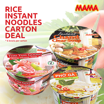 [MAMA THAI] Instant Rice Noodle Carton Deal | Spicy Shrimp Soup | Coriander  Flavour | BIG BOWL