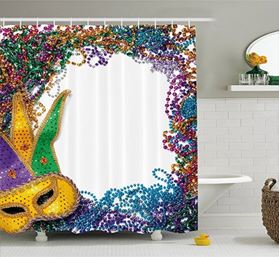 Mardi Gras Shower Curtain By JLBB Colorful Framework Design With Vibrant Beads And Mask Fat Tuesday