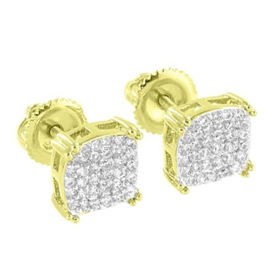 Master Of Bling 14k Gold Tone Earrings Back Micro Pave Lab Created Cubic Zirconias Iced