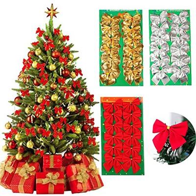 Qoo10 - MCpinky 36 PCS Gold Silver Red Tree Bows Mini Christmas Ribbon Bows fo... : Furniture & Deco