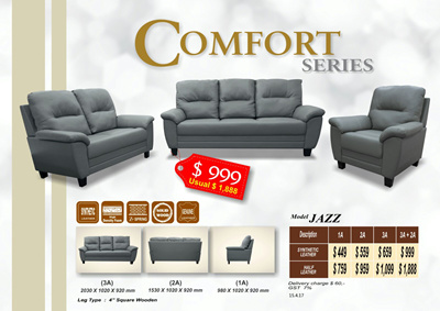 Jazz Sofa Set | Faux Leather And Half Leather Available! 3 + 2 Set