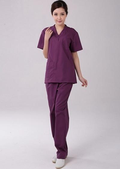 176a8a23e9b Medical Nursing Women Unisex Scrub Set Top Pants Hospital Clinic Short  sleeve Uniform purple