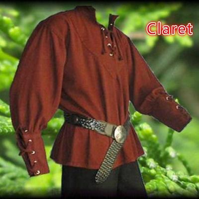Medieval Shirt Lace-up Men Shirts Pirate Reenactment Renaissance Landlord  Knight Casual Shirt