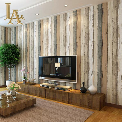 Mediterranean Vintage 3d Textured Wood Striped Wallpaper Bedroom Living Room Sofa Home Decor Wall Wo