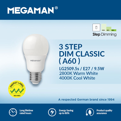 MEGAMAN 3 STEP DIM LED BULB 9.5W
