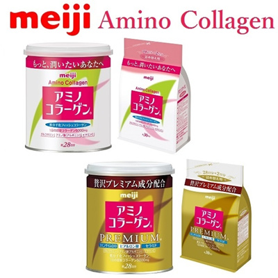 [Meiji] Amino Collagen Powder Regular / Premium [Can 200g / Refill Pack 214g