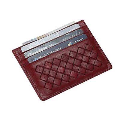 Qoo10 meku womens leather card case wallet weaved credit card meku womens leather card case wallet weaved credit card holder slim business card case front pocket colourmoves