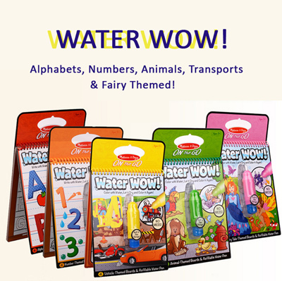 Melissa Doug WaterWOW Water Wow magic drawing coloring book board - Baby  Toddler Kids Educational Play Art Craft Alphabet letters ABC 123 numbers ...
