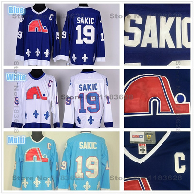 sale retailer 1013f ffa96 Men' s Quebec Nordiques Jerseys #19 Joe Sakic Jersey Nordiques Home Blue  White Cheap Joe Sakic Ho