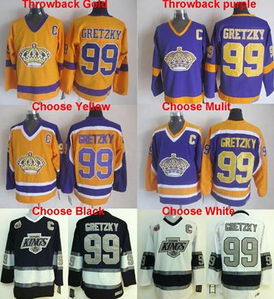 promo code 8fbd5 2c480 Men' s Throwback #99 Wayne Gretzky Jersey,Los Angeles Kings Gold Purple  Yellow Black White Vintag