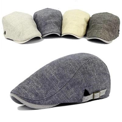 Men Cotton Beret Hat Buckle Adjustable Paper Boy Newsboy Cabbie Golf  Gentleman Cap c44f20a4c2b0
