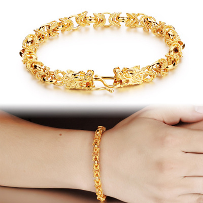 Men Domineering Dual Dragon Head 24k Euro Dollar Gold Bracelet Overweight Bracelet男士霸气