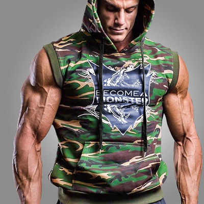 Men Fitness Bodybuilding Sleeveless Muscle Hoodies Hooded Gym Tank Tops Workout Clothes Athletic App