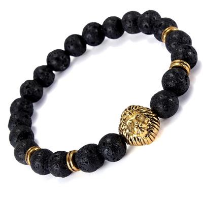 Men S Antique Black Lava Stone Gold Lion Head Bracelet