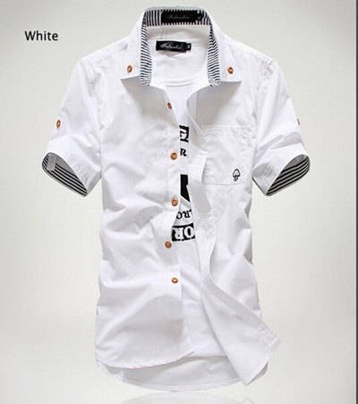 7c0f3219bd5 Qoo10 - Men s short-sleeved shirt Slim embroidery small mushrooms collar  shirt...   Women s Clothing