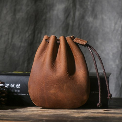 8743a32ff012 Men s Vintage Leather Pouch Small Purse Drawstring Bag Handmade Coin Wallet