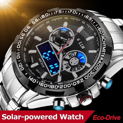 08ae3cf6635 Men s Watch Saving Energy Solar Powered Environmental Waterproof Watch with  Gift Box