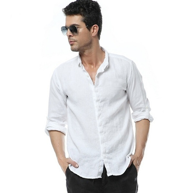 c8f1d0525f2f Qoo10 - Men s White 100% Linen Long SLeeve Shirts Men Slim Casual Shirts    Women s Clothing
