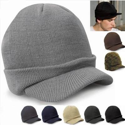 Men Warm Baggy Crochet Visor Brim Beanie Ski Cap Baggy Oversized Knit Skull  Hat FOR e62fdeefcdf