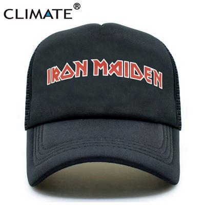 ed9b0d5b0a4 Men Women Black Trucker Cap Iron Maiden Death Heavy Metal Punk Rock Summer  Cool Baseball Mesh