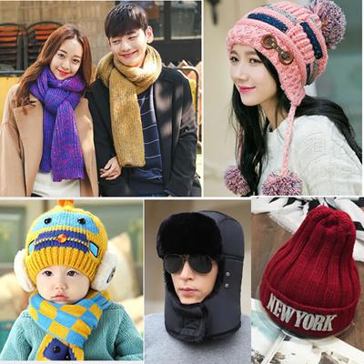 4cd5c97db men/women/kids/baby winter scarf caps Hat socks gloves outdoor Knitted hats