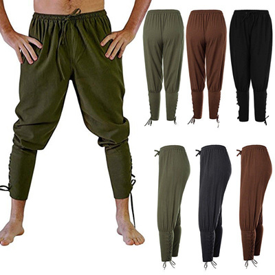 Mens Ankle Cuff Pants Medieval Viking Navigator Trousers with Drawstrings
