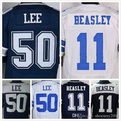 quality design 3ee86 910b2 Mens Cole Beasley Jersey #11 Sean Lee Jersey #50 Elite 100% Stitched Black  White Football Jerseys Si