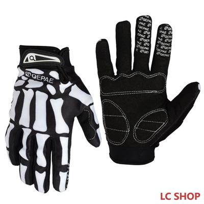 Men Full Finger Gloves Skull Bone Skeleton Goth Cycling Racing Bike Motorcycle