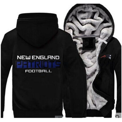 watch 1f088 f1df7 Mens Fashion New England Patriots Thickened Zipper Hoodie Coat Cashmere  Jacket Plus Size