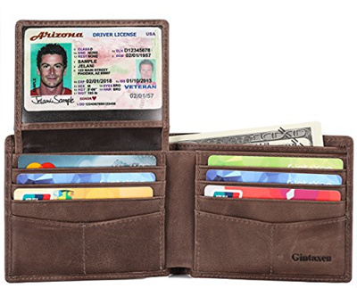 9b7d09d5715a5 Mens Genuine Leather Bifold Wallet with 2 ID Window and RFID Blocking -  Coffee