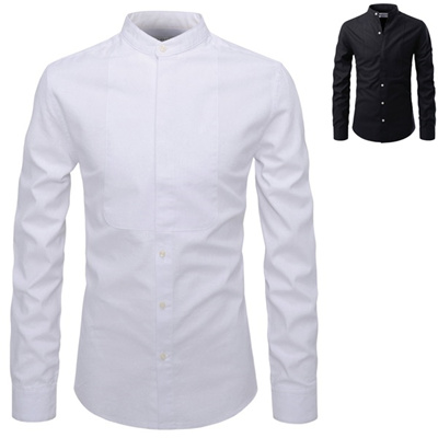 c7b7c31d9 Mens Mandarin Collar Casual Dress Shirts Black White Korean Style Tops  Clothes Party Wedding Clubber
