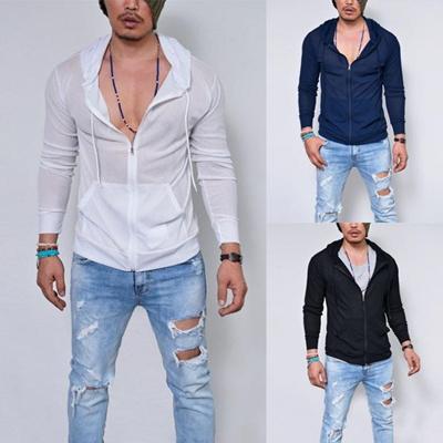 Mens Plain Hoodie Fleece Knit Zip Up Hoody Jacket Hooded Sweatshirt Zipper Top