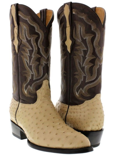 6e40d9fe04c mens real sand beige ostrich skin leather cowboy boots genuine exotic rodeo