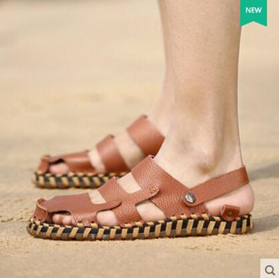 fd842d6fa16 Qoo10 - Mens Shoes Sandals Men summer leather breathable handmade Baotou  ca...   Men s Bags   Sho.