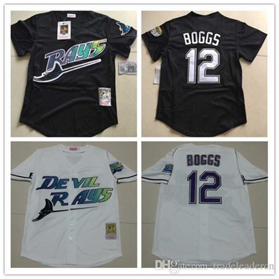 new arrival f47e3 75797 Mens Tampa Bay Rays #12 Wade Boggs VINTAGE Baseball Jerseys Pullover Mesh  BP Throwback Cooperstown B