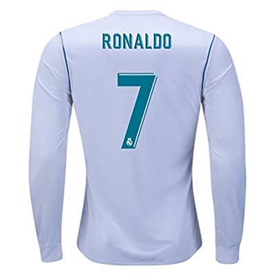 on sale 80ac5 9ac5b MephosDmme 2017/2018 Ronaldo 7 Real Madrid Home Long Sleeve Jersey Mens  Color White Size XL
