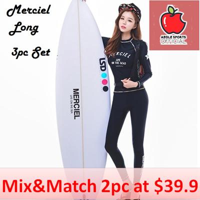 Merciel Long Sleeves/Pants 3pc Set Rashguard Women Swimming Wear Women  Swimwear