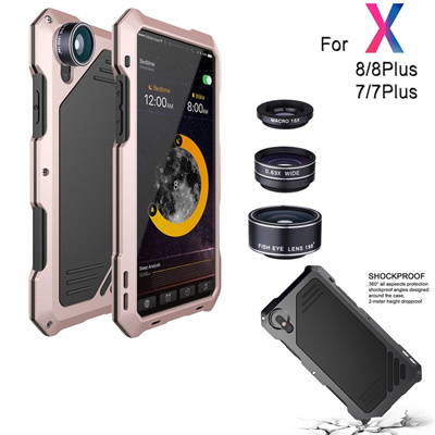 pretty nice ec164 a44fe Metal Full Body Shockproof Waterproof Smartphone Cover Mobile Phone Outdoor  Protective Case +3 Camer